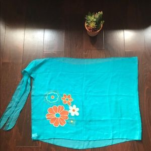 Other - 50 inches Turquoise, orange, beige flower sarong
